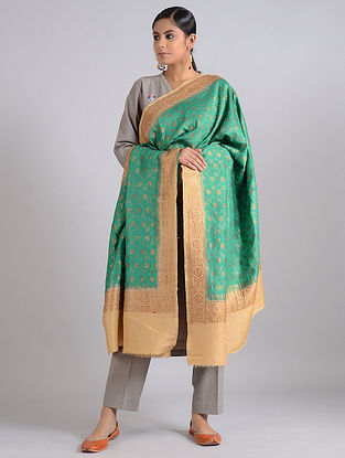 Green-Beige Handwoven Benarasi Muga Silk Dupatta