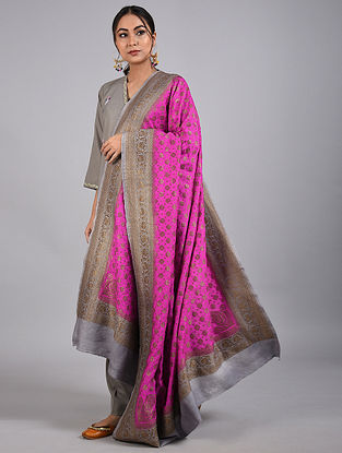 Pink-Green Handwoven Benarasi Muga Silk Dupatta