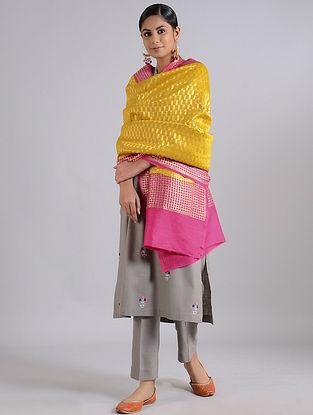 Yellow-Pink Handwoven Benarasi Muga Silk Dupatta