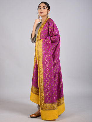 Purple-Yellow Handwoven Benarasi Muga Silk Dupatta