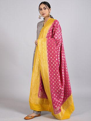 Pink-Yellow Handwoven Benarasi Muga Silk Dupatta