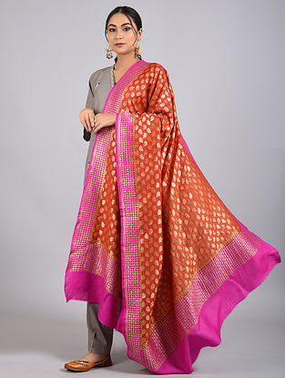 Brown-Purple Handwoven Benarasi Muga Silk Dupatta