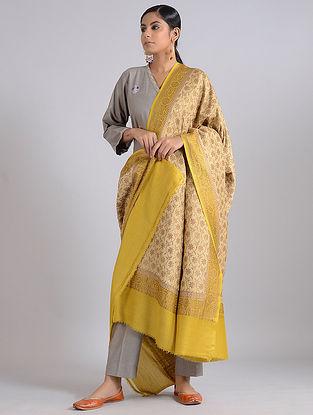Beige-Yellow Handwoven Benarasi Muga Silk Dupatta