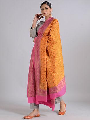 Orange-Pink Handwoven Benarasi Muga Silk Dupatta
