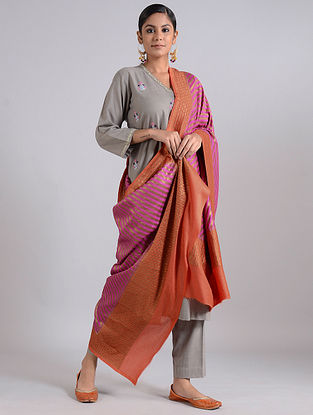 Purple-Brown Handwoven Benarasi Muga Silk Dupatta