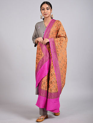 Purple-Orange Handwoven Benarasi Muga Silk Dupatta