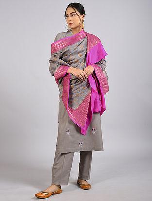 Grey-Pink Handwoven Benarasi Muga Silk Dupatta