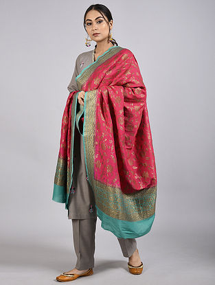 Red-Blue Handwoven Benarasi Muga Silk Dupatta