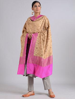 Beige-Pink Handwoven Benarasi Muga Silk Dupatta