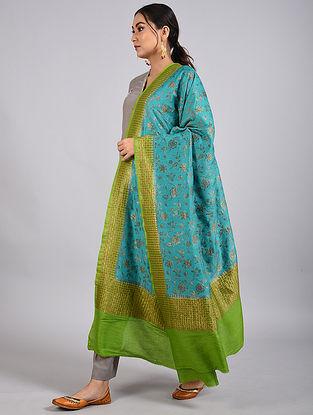 Blue-Green Handwoven Benarasi Muga Silk Dupatta