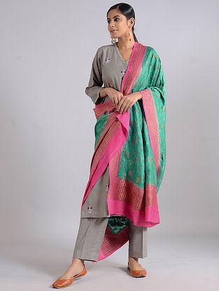 Green-Pink Handwoven Benarasi Muga Silk Dupatta