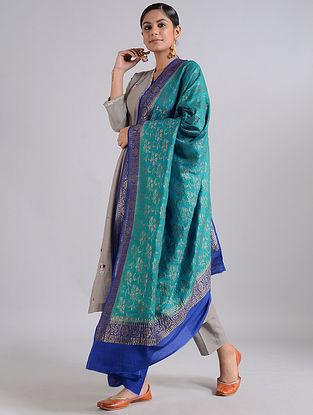 Green-Blue Handwoven Benarasi Muga Silk Dupatta