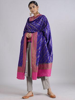 Blue-Pink Handwoven Benarasi Muga Silk Dupatta