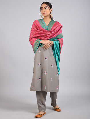 Pink-Blue Handwoven Benarasi Muga Silk Dupatta