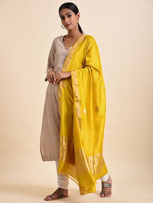 Yellow Handwoven Benarasi Silk Dupatta