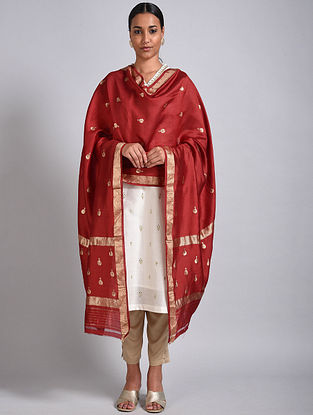 Red Handwoven Benarasi Silk Dupatta
