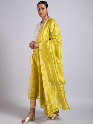 Yellow Handwoven Benarasi Silk Dupatta