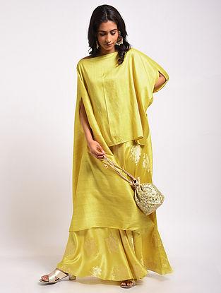 Lemon Yellow Handloom Summer Silk Skirt with Raw Silk Cape (Set of 2)