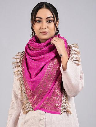 Magenta Handwoven Benarasi Muga Silk Stole