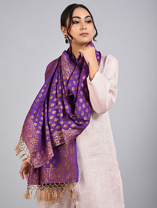 Purple Handwoven Benarasi Muga Silk Stole
