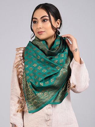 Green Handwoven Benarasi Muga Silk Stole