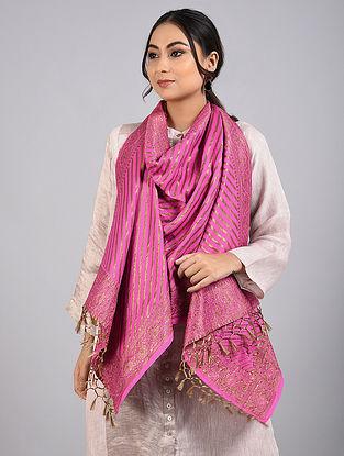 Pink Handwoven Benarasi Muga Silk Stole