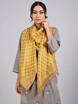 Mustard Handwoven Benarasi Muga Silk Stole