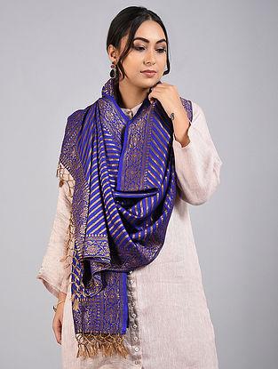 Blue Handwoven Benarasi Muga Silk Stole