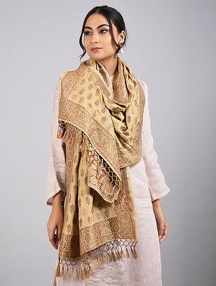 Beige Handwoven Benarasi Muga Silk Stole