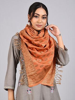 Copper Handwoven Benarasi Muga Silk Stole