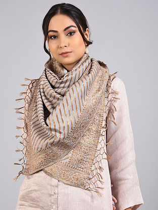 Grey Handwoven Benarasi Muga Silk Stole