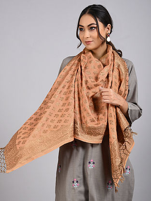 Brown Handwoven Benarasi Muga Silk Stole