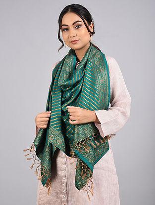Teal Green Handwoven Benarasi Muga Silk Stole
