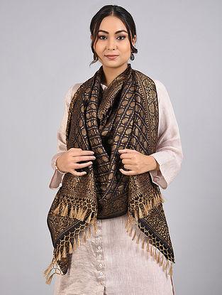 Black Handwoven Benarasi Muga Silk Stole