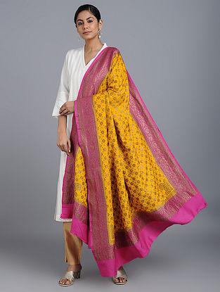 Yellow-Pink Benarasi Muga Silk Dupatta