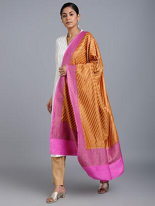 Orange-Pink Benarasi Muga Silk Dupatta