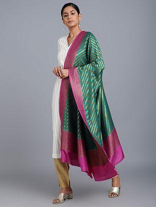 Green-Pink Benarasi Muga Silk Dupatta