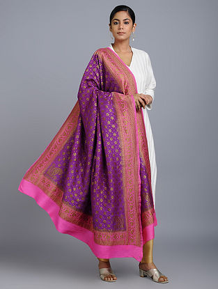 Purple-Pink Benarasi Muga Silk Dupatta