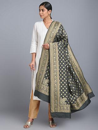 Black Benarasi Muga Silk Dupatta