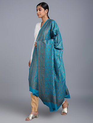 Blue Benarasi Muga Silk Dupatta