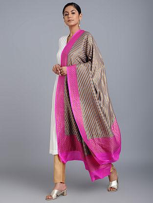 Grey-Pink Benarasi Muga Silk Dupatta