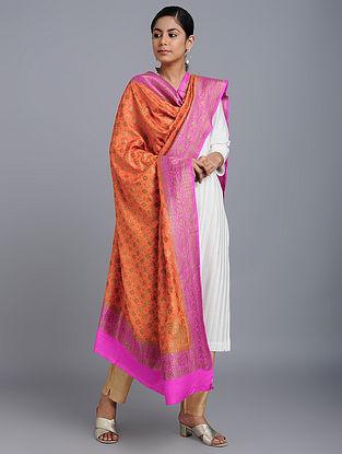 Red-Pink Benarasi Muga Silk Dupatta
