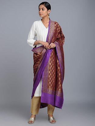 Maroon-Purple Benarasi Muga Silk Dupatta
