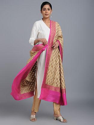 Beige-Pink Benarasi Muga Silk Dupatta