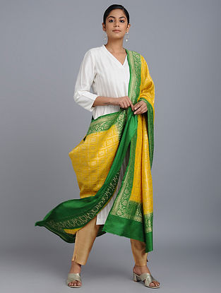 Yellow-Green Benarasi Muga Silk Dupatta
