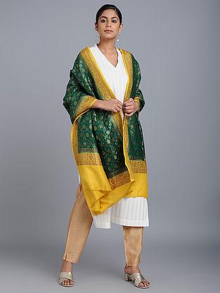 Green-Yellow Benarasi Muga Silk Dupatta