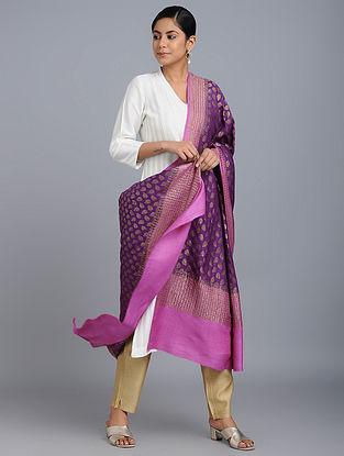 Purple Benarasi Muga Silk Dupatta