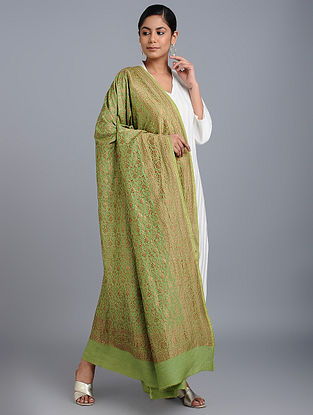 Green Benarasi Muga Silk Dupatta