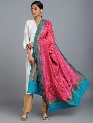 Pink-Blue Benarasi Muga Silk Dupatta