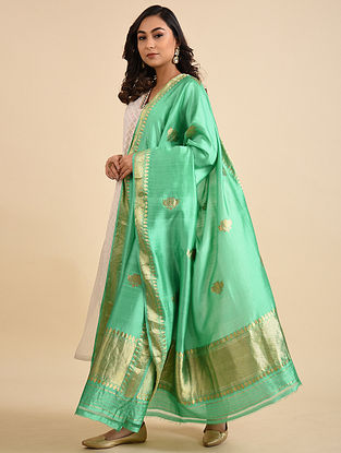 Green Handwoven Silk Dupatta